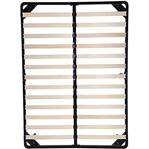 CHENSHJI Enkel förvaring i full storlek Twisted-båge av träplatta stål plattform säng madrassram järnsäng ram (färg: Svart, storlek: One Size)