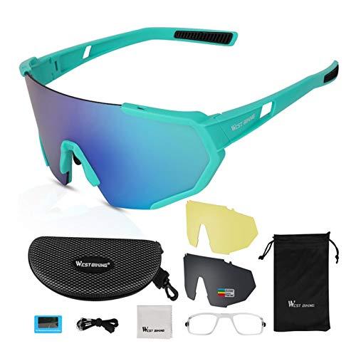 Ishine Gafas de sol de ciclismo anti-UV para correr deportes gafas de pesca a prueba de viento al aire libre gafas para hombres y mujeres