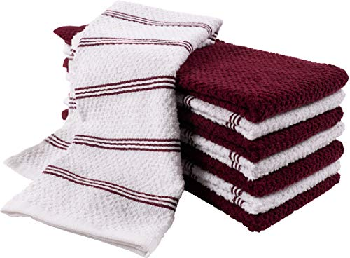 KAF Home Pantry Piedmont Terry Kitchen Towels | Set of 8, 16 x 26 inch, Absorbent Terry Cloth Dish Towels, Hand Towels, Tea Towels | Perfect for Kitchen Spills, Cooking, and Messes - Wine Red