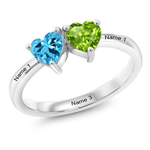 Gem Stone King 925 Sterling Silver Build Your Own Personalized Engraved Promise Love Birthstone Double Heart Shape Fashion Mothers Name Women's Ring (Size 8)
