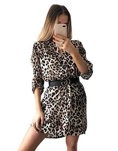 JLTPH Frauen V-Ausschnitt Langärmliges Schlangenleder Leopardenmuster Hemdkleid Kurzes Kleid ohne Gürtel Casual T-Shirt Tops Bluse Minikleid Tunikakleid Strand Sundress Kleid (Aprikose, M)