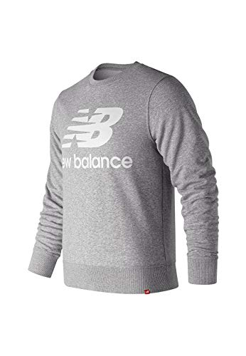 New Balance Men's Essentials Stacked Logo Crew Neck Sweatshirt, Athletic Grey 19, L
