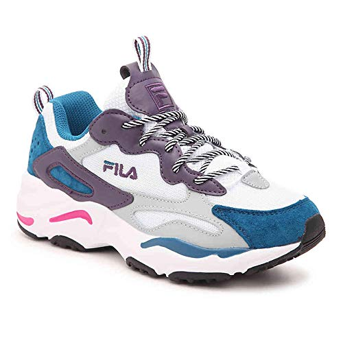 Fila Women's Ray Tracer Sneakers (8, White/Purple/Teal)