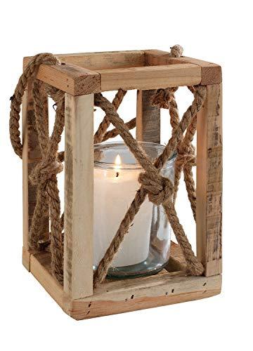 Laterne Windlicht Gartenlaterne | Holz | Braun | mit Henkel