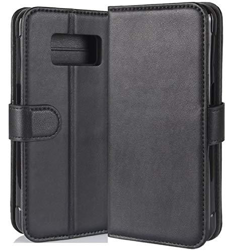HualuBro Samsung Galaxy S8 Active Hülle, Echt Leder Leather Wallet HandyHülle Tasche Schutzhülle Flip Hülle Cover für Samsung Galaxy S8 Active Smartphone (Schwarz)