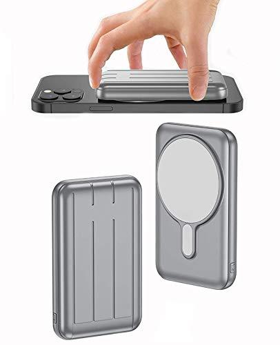 Banco De EnergíA Adsorbible InaláMbrico MagnéTico De 10000Mah, Cargador PortáTil InaláMbrico De Seguridad MagnéTica 15W,Carga RáPida USB-C BateríA Externa para iPhone 12/Mini/Pro/Pro MAX(Gris)