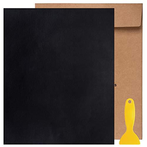 Kit de Parche de Piel,Parches de Piel Cuero Artificial, para Sofá Asientos de Coche Pegatina de Reparación de Polipiel Parches,25 cm x 30 cm (Negro 1pcs)