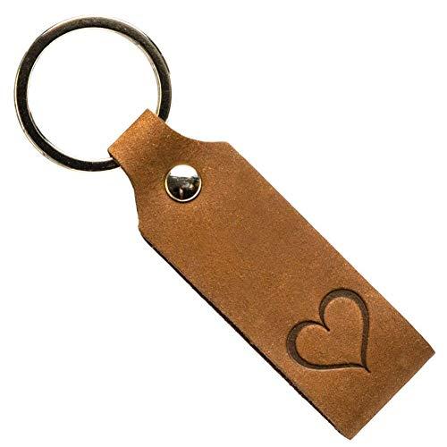 Preisvergleich Produktbild Ankerpunkt Schlüsselanhänger mit Gravur Herz Leder Geschenk für Frauen Männer,  Geschenke zum Valentinstag,  Jahrestag,  Geburtstag für sie,  ihn Made in Germany Dunkelbraun