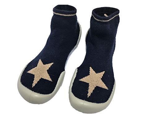 Collegien 511D Bonne Glisse Hausschuhe Socken schwarz mit Gold Glitzer Stern Gr. 36/37