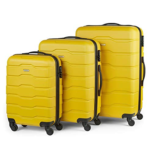 VonHaus 3pc Bumblebee Yellow ABS Luggage Set - Hard Shell Trolley Suitcase/Cabin Bag - Built-in Combination Lock - 360° Silent Spinner Wheels