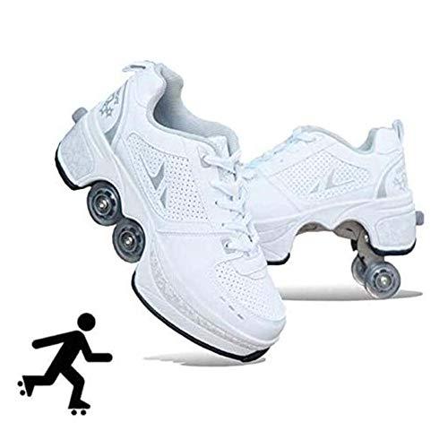 HealHeatersⓇ Rollschuh Roller Skates Lauflernschuhe, 2 in 1 Mehrzweckschuhe Schuhe Mit Rollen Skateboardschuhe Für Damen, Mädchen,Weiß,39