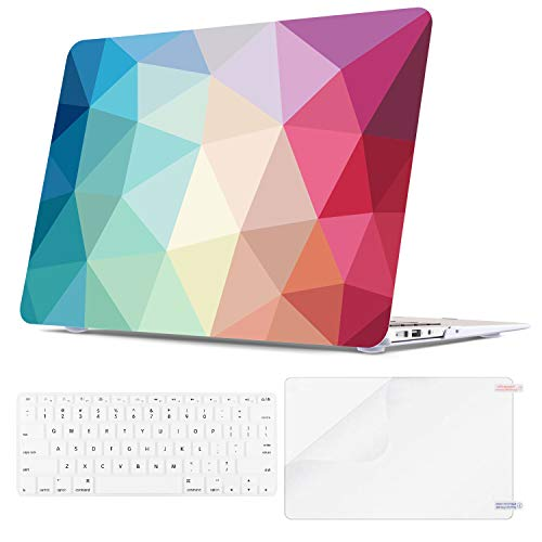Teengrow MacBook Air 13 Inch Case (A1369 & A1466, Older Version 2010-2017 Release) Hard Shell Laptop Covers with Keyboard Cover & Screen Protector Compatbile for Apple Mac Air 13 (Colorful Geometric)