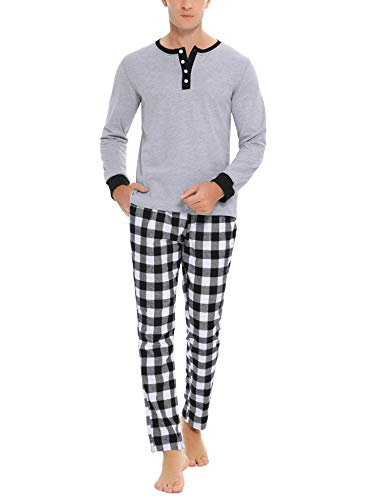 Doaraha Pijama Hombre Invierno Manga Larga Algodón Pijamas Camiseta y Pantalones Cuadros Celosía Ropa de Dormir Cuello Abotonado Suave Cómodo 2 Piezas (A# Gris Jaspeado - Manga Larga, M)