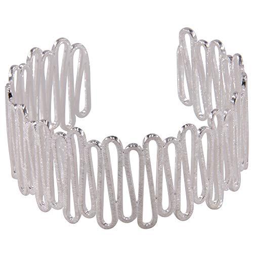 filigraner Armreif Silber - hochwertige Goldschmiedearbeit aus Deutschland - 30 mm breit (Sterling Silber 925) - Damen Armband Armspange