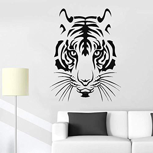Tiger Kopf Vinyl Wandaufkleber Wohnkultur Wohnzimmer Bewegliche Tier Wandkarte Schlafzimmer Dschungel König Tier Karte Wandbild 56X73 Cm