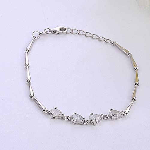 AJH Nueva Pulsera de Mujer de Plata esterlina s925 Platino Diamante de Platino sucinta Pulsera de Mujer de Moda de vanguardia