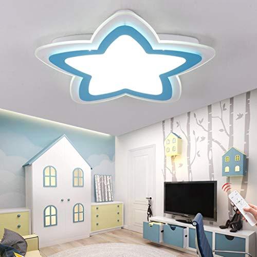 WJLL Moderno LED Lámpara de Techo Cuarto de los Niños Luz de Techo Regulable con Control Remoto Forma de Estrella Diseño Plafón de Dormitorio de Niña/Chico Iluminación Acrílico Pantalla,Azul,42cm