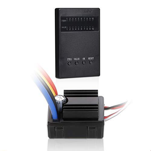 Kedelak Controlador de Velocidad eléctrico 80A Cepillado 2-3S ESC con Tarjeta de programación para 1/8 1/10 RC Crawler
