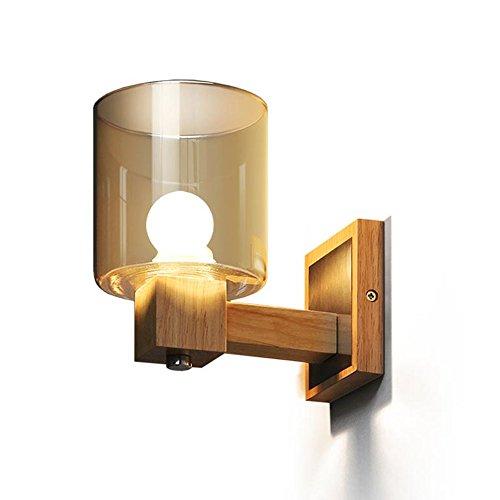 MAGFYLYDL Kristalglas wandlamp binnen decoratieve houten wandlamp voor slaapkamer woonkamer hal badkamer hoofdeinde spiegel, E14