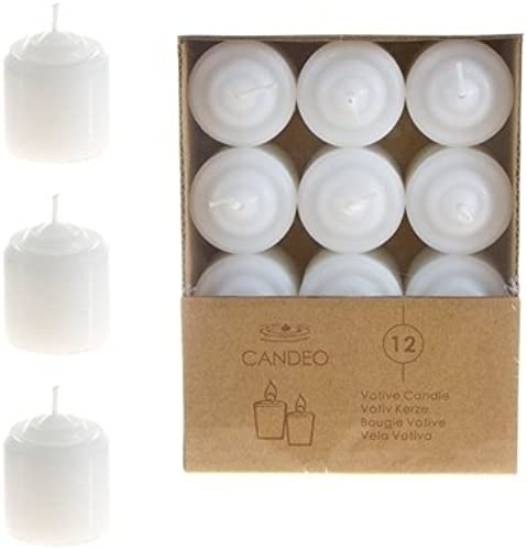 DDI 1489366 8 Hours Unscented Votive Candles - Weiß Case Of 24 by DDI