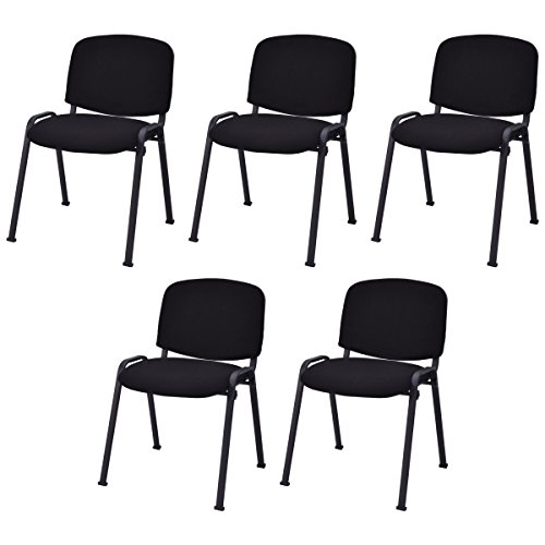 Casart 5 PCS Conference Chair Set W/Steel Frame,Ergonomic Design,Sponge Seat and Back,Stack Chair for Study Waiting Room Guest Reception Room Stackable Office Chairs Furniture Set