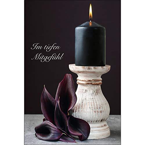 Merz Designkarten 6 Stück einfühlsame Premium-Trauerkarten/Beileidskarten (Mitgefühl) im Set mit 6 weißen Umschlägen - aufrichtige Anteilnahme Trauerkarte, Beileid, Sterbefall, stille Trauer