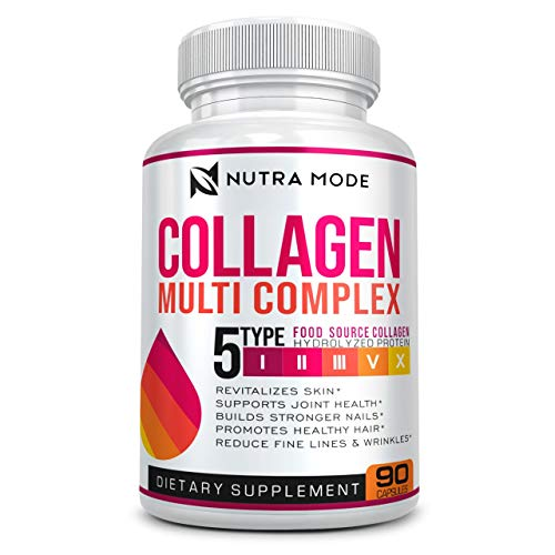 Multi Collagen Pills (Types I, II, III, V, X)-Complex Collagen Supplement-Grass Fed Collagen Protein Blend-Collagen Peptides for Anti-Aging, Hair, Skin, Nails and Joints (90 Collagen Capsules)