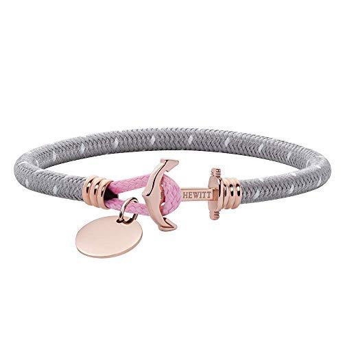 PAUL HEWITT Anker Armband Phrep Lite mit personalisierter Gravur - Nylon Armband in Grau Weiß Rosa mit individueller Wunschgravur auf einem Anhänger, Schmuck aus IP-Edelstahl (Roségold) in Größe S