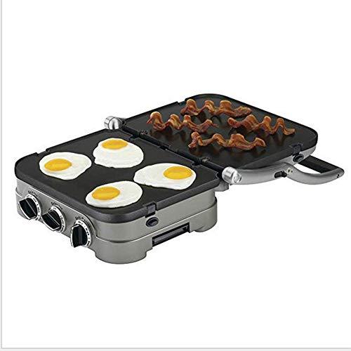 Rauchfreier Innengrill 1200W Power Elektrogrill kompakter und tragbarer Antihaft-Grill Grill Verbesserter Antihaft-Kupfergrill mit wärmenden Schubladenpfannkuchen Ideal für Partys und Famili