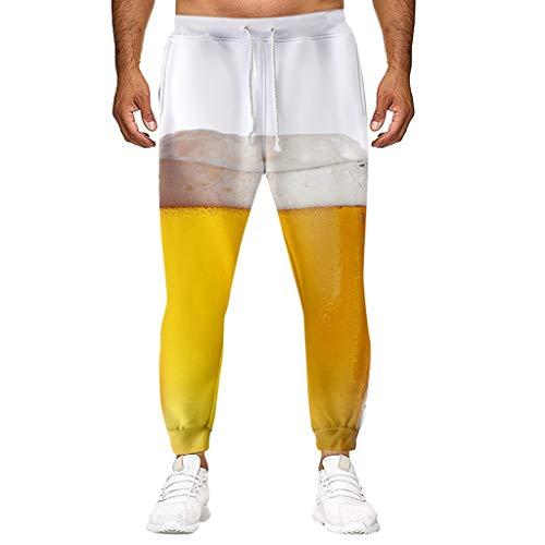 2019 Oktoberfest Herren Hosen Fun-Bekleidung,Herren Beiläufige lose Lange Hosen Bier Festival 3D-Druck Hose Männer Sportbekleidung Freizeithose Trainingshose Sweatpants