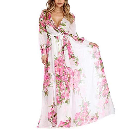 Karrychen Vestido Maxi de Fiesta de Noche de Gasa con Manga Larga de Verano y Talla Grande para Mujer, Cuello en V Profundo, Frente, Cintura Alta, Estampado Floral, Vestido de Playa S-3XL