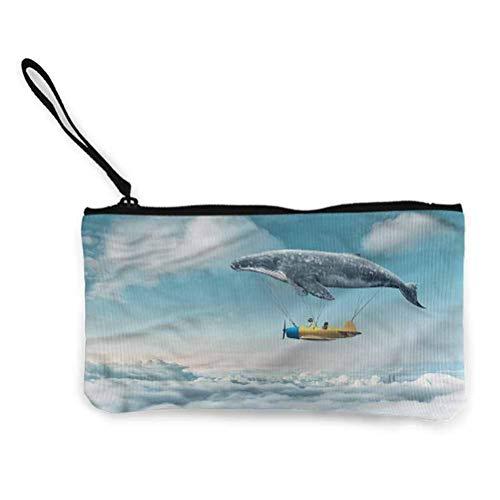 Baleine Zipper Coin Pouch Zipper Storage Case Cosmetic Bags Coloré Baleines Plantes