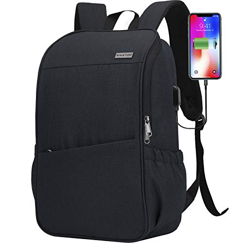 Laptop Backpack for Women Men Bookbag School Backpack with USB Charging Port [Water Resistant] Work College Business Travel Computer Backpack Fits up to 16' Notebook