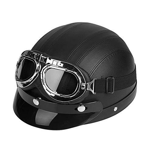 Motorrad-Halb offener Helm, Scooter Schutz Shell Offen Helm Motorradhelm Leder Offener Helm mit Visier Schutzbrillen, 54-60cm (Schwarz)