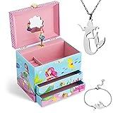 Jewelkeeper Mermaid Music Box & Little Girls Jewelry Set - 3 Mermaid Gifts for Girls