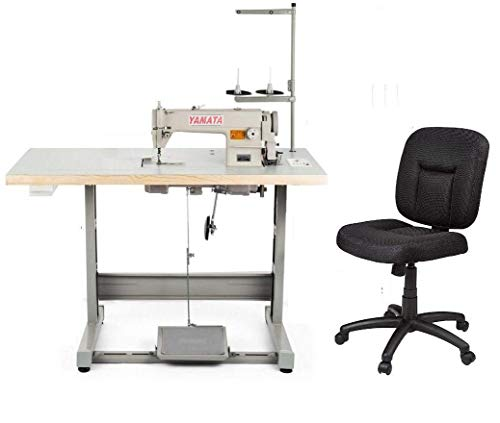 Yamata Industrial Sewing Machine FY-8700 Lockstitch Sewing Machine Ergonomic Chair +Motor + Table Stand + LED Lamp Commercial Grade Sewing Machine for Sewing All Types of Fabrics (DDL-8700)