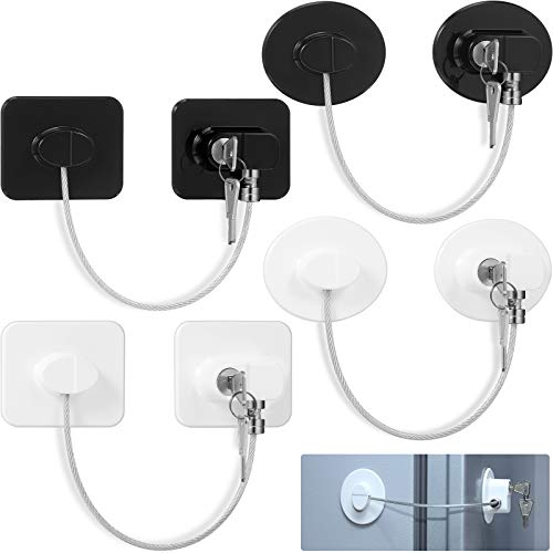 4 Pieces Fridge Lock Refrigerator Lock with 8 Key, Freezer Lock Child Safety Cabinet Lock with Adhesive for Kitchen Appliance, Openable Furniture, Sliding Closet, Drawer and Toilet Seat (White, Black)