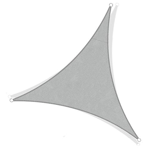 JYYnet Toldo Vela de Sombra, Triángulo 3x3x3m Toldo Vela de Sombra Prevención Rayos UV Poliéster Toldo para Terraza Exterior Jardín (3×3×3m, Gris Claro)