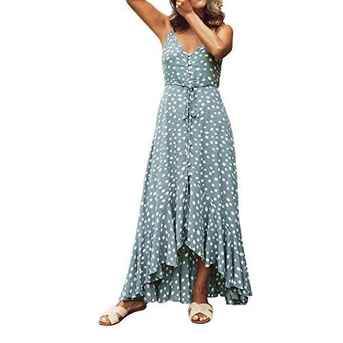 Vestido largo de verano Bohemia con correa de espagueti sin mangas sexy con cuello en V lunares Sundress irregular Boho Maxi Vestidos