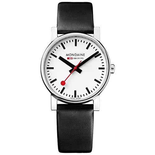 [モンディーン]MONDAINE 腕時計 エヴォ メンズ ホワイト文字盤 ブラックレザーストラップ A658.30300.11SBB メンズ [正規輸入品]