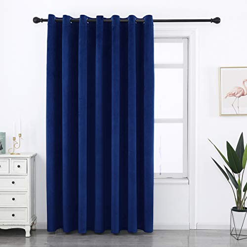 SPXTEX Navy Blue Velvet Curtains 84 inches Long Sliding Door Curtains for Living Room Royal Blue Velvet Curtains Grommet Heavy Velvet Drapes Thermal Insulated Curtains for Bedroom Set of 1 Panel