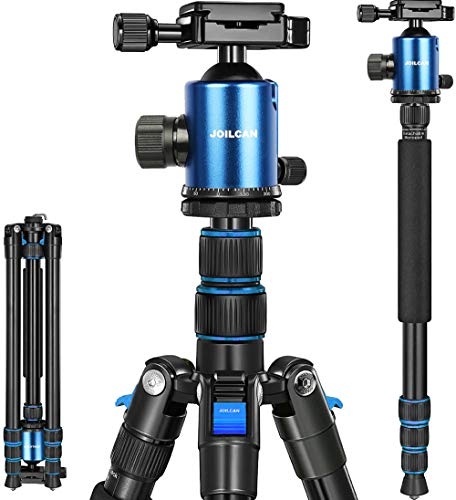 "Joilcan 80-inch Tripod for Camera, Aluminum Tripod for DSLR,Monopod, Lightweight Tripod with 360 Degree Ball Head Stable for Travel and Work 18.5""-80"",19lb Load (Blue)"