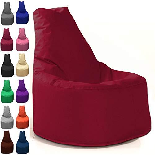 Sitzbag Sitzsack Sessel XL - XXL für Kinder und Erwachsene - In & Outdoor Sitzsäcke Kissen Sofa Hocker Sitzkissen Bodenkissen (XL - 68cm Durchmesser, Bordeaux)