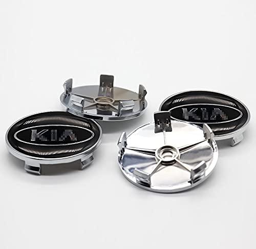 LINMAN Cubierta de la Rueda del automóvil Cubierta del Centro de la Rueda 4pcs 60mm, Compatible con KIA, Customized  Piezas de modificación de automóviles, modificación Exquisita   (Color : Blue)