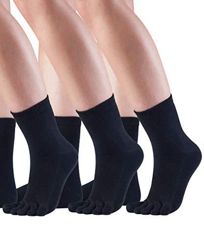 Knitido 3ER SPARPACK Essentials Midi Zehensocken, kurze fünf Finger Socken aus Baumwolle, für Damen & Herren, Größe:43-46, Farbe:Black (101)