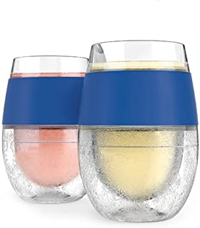 Host 5167 Freeze Stemless Wine Glasses, Red & White Wine Tumbler Cups, Insulated Plastic Glass, Blue Silicone Bands, Set of 2, 9 oz