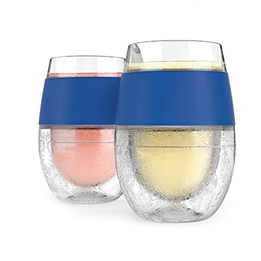 HOST Cooling Cup, Set of 2 Double Wall Insulated Freezable Drink Chilling Tumbler with Freezing Gel, Glasses for Red and White Wine, 8.5 oz, Blue