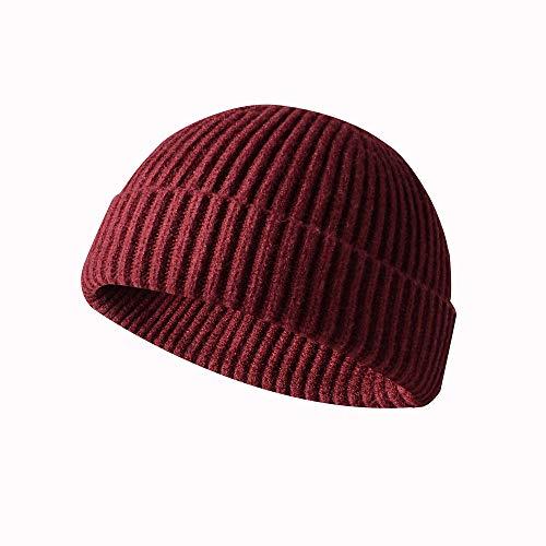 KNNSYZ Sombrero de Punto de Lana sólida Corta de Moda Salvaje Sombrero de Marea de Ocio al Aire Libre Sombrero de Cuero de melón