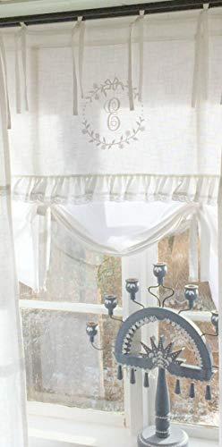 LillaBelle WEIß Raff Gardine Crystal NY 180x90 cm B x H Scheiben Küchen Gardine Vorhang Vintage Bandaufhängung
