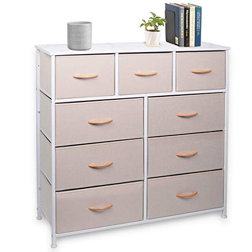 CERBIOR Wide Drawer Dresser Storage Organizer 9-Drawer Closet Shelves Sturdy Steel Frame Marbling Wood Top with Easy Pull Fabric Bins for Clothing Blankets 9-Cream Drawers